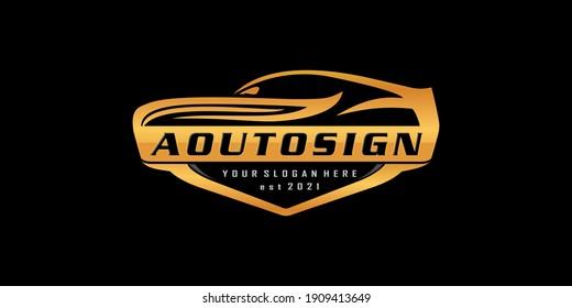 luxury automotive logo. vector cars dealers, detailing and modification logo design concept illustration