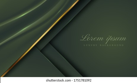 luxury background cloth green color with sparkle line golden , deluxe modern concept. vector illustration for backdrop design.