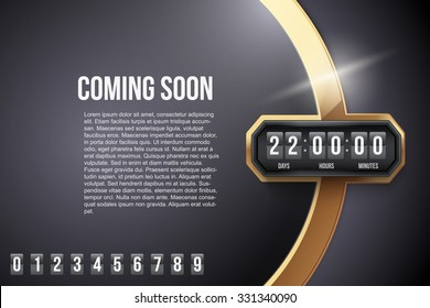 Luxury Background Coming Soon and countdown timer with digit samples. Vector Illustration isolated on white background.