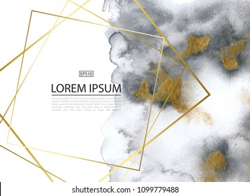 Luxury background with gold and grey marble watercolor texture.Perfect for wallpapers, web page backgrounds, surface textures, design of cards, invitations and other design.Vector illustration
