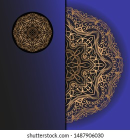 Luxury background. with gold mandala Vector card template.