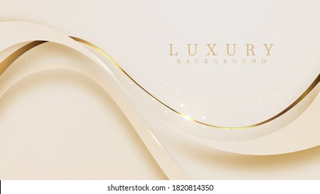Luxury background With golden lines And the light sparkles Mustard color in 3d abstract style, illustration from vector deluxe template modern design.