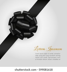 Luxury background with realistic glossy black gift bow and ribbon.