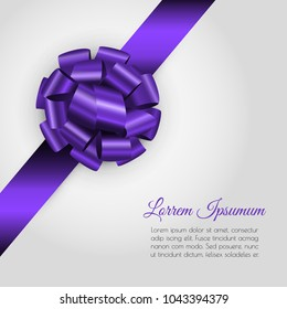 Luxury background with realistic glossy violet gift bow and ribbon.