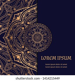 Luxury background vector card template. Gold mandala royal pattern. Oriental design for Christmas party invitation, Ramadan holiday, New year greeting, beauty spa salon, wedding, save the date.