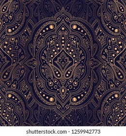 Luxury background vector. Ethnic royal pattern seamless. Damask design for Christmas party, New Year holiday wrapping paper, yoga wallpaper, beauty spa salon ornament, wedding, gift packaging.