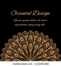 Luxury background vector. Gold black peacock feathers royal pattern frame. Moroccan design for beauty spa salon flyer, wedding party invitation, new year greeting, holiday christmas card template.