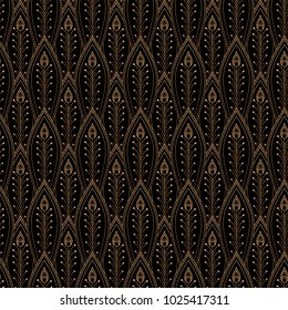 Luxury background vector. Peacock feathers scale royal pattern seamless. Golden vintage design for yoga wallpaper, beauty spa salon, bridal shower, indian wedding party, holiday christmas card.