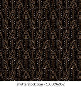 Luxury background vector. Peacock feathers scale royal pattern seamless. Gold black art deco design for yoga wallpaper, beauty spa salon, bridal shower, indian wedding party, holiday christmas card.