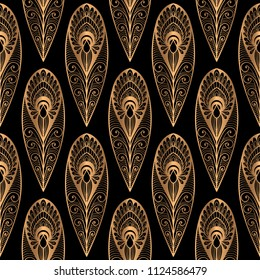 Luxury background vector. Peacock feathers royal pattern seamless. Golden vintage ornament design for yoga wallpaper, beauty spa salon, indian wedding, holiday christmas gift, birthday wrapping paper.