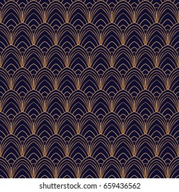 Luxury background vector. Scale art deco pattern seamless. Feather ornament. Design for wallpaper, bridal fashion, royal beauty spa salon, wedding, anniversary or holiday party card.