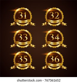 Luxury Badge Anniversary 31-36 Vector Illustrator Eps.10