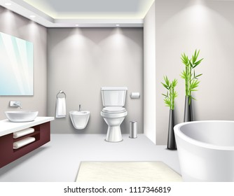 Luxury bathroom interior in modern design realistic composition for business magazine catalog website page vector illustration