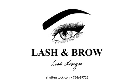 Luxury Beauty Eye. Lashes & Brow business card or logo template. Look design. Logo design of the master on the eyebrows, makeup artist, makeup stylist, master of eyebrows or eyelashes
