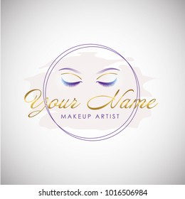 Luxury Beauty Eye Lashes Logo. Cosmetic Symbol Icon. Vector Illustration