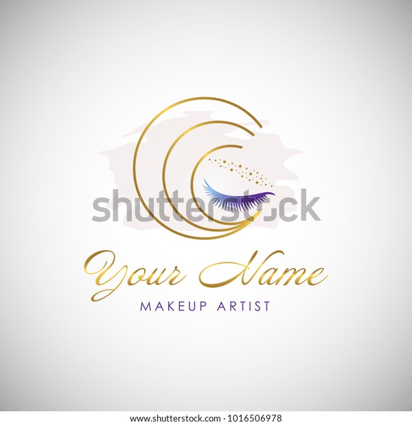 Luxury Beauty Eye Lashes Logo Cosmetic Stock Vector (Royalty