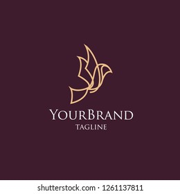 Luxury Bird mono line logo template
