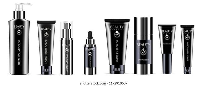Luxury black 8 pcs. cosmetics bottle set: dispenser, dropper, cream tubes, deodorant. Vector cosmetic mockup package design. Sample label and logo included.