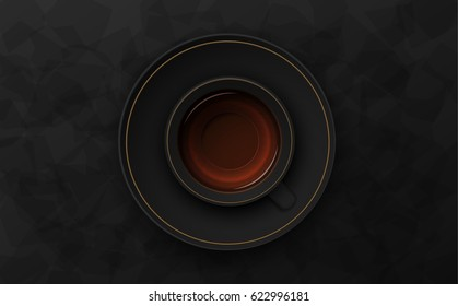 Luxury black background. Tea cup on dark stone table top view. Premium quality vector illustration design.