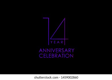 Luxury Black Blue Purple 14 years anniversary, Elegant minimalist logo years, jubilee, Ribbon greeting card. Birthday invitation. Red blue space vector illustration on black background - Vector