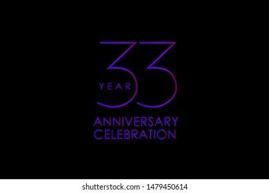 Luxury Black Blue Purple 33 years anniversary, Elegant minimalist logo years, jubilee, Ribbon greeting card. Birthday invitation. Red blue space vector illustration on black background - Vector