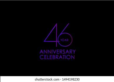 Luxury Black Blue Purple 46 years anniversary, Elegant minimalist logo years, jubilee, Ribbon greeting card. Birthday invitation. Red blue vector illustration on black background - Vector