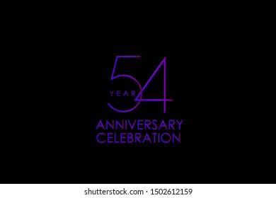 Luxury Black Blue Purple 54 years anniversary, Elegant minimalist logo years, jubilee, Ribbon greeting card. Birthday invitation. Red blue vector illustration on black background - Vector