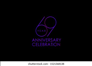 Luxury Black Blue Purple 69 years anniversary, Elegant minimalist logo years, jubilee, Ribbon greeting card. Birthday invitation. Red blue vector illustration on black background - Vector