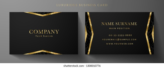 Luxury black Business card design template with gold Art Deco geometric lines (VIP Gift Card). Dark background with modern triangle lines