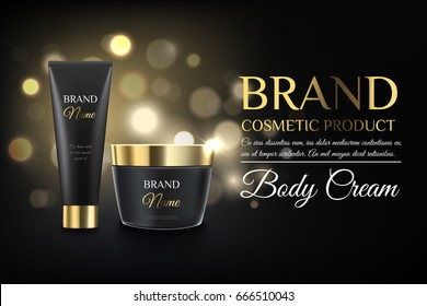 Luxury black cosmetic templates for ads, realistic matte black and gold cosmetic bank and cosmetic tube on a bokeh background ready for design and print. Modern trendy illustration for ads