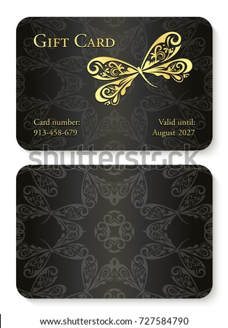 Luxury Black Gift Card Dragonfly Ornament Stock Vector Royalty Free