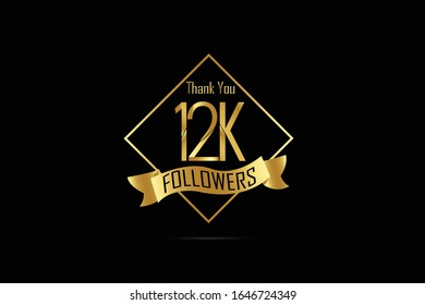 Luxury Black Gold 12K, 12000 Followers Thank you Gold Ribbon for internet, website, social media - Vector
