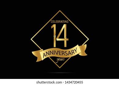 Luxury Black Gold 14 years anniversary, minimalist logo years, jubilee, Ribbon greeting card. Birthday invitation. Gold space vector illustration on black background - Vector
