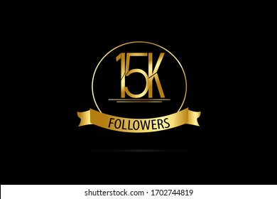 Luxury Black Gold 15K, 15.000 Follower Thank you Gold Ribbon for internet, website, social media - Vector
