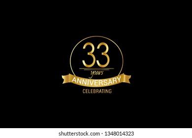 Luxury Black Gold 33 years anniversary, minimalist logo years, jubilee, Ribbon greeting card. Birthday invitation. Gold space vector illustration on black background - Vector