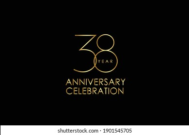 Luxury Black Gold 38 years anniversary, minimalist logo years, jubilee, Ribbon greeting card. Birthday invitation. Gold space vector illustration on black background - Vector