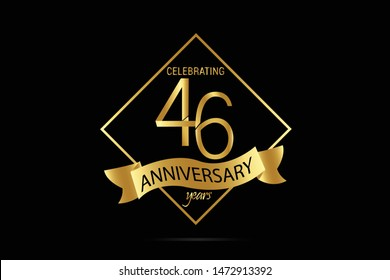 Luxury Black Gold 46 year anniversary jubilee, Ribbon greeting card. Birthday invitation. Gold space vector illustration on black background - Vector