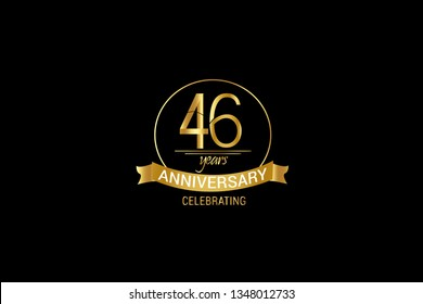 Luxury Black Gold 46 years anniversary, minimalist logo years, jubilee, Ribbon greeting card. Birthday invitation. Gold space vector illustration on black background - Vector
