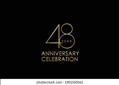 Luxury Black Gold 48 years anniversary, minimalist logo years, jubilee, Ribbon greeting card. Birthday invitation. Gold space vector illustration on black background - Vector