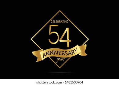 Luxury Black Gold 54 year anniversary jubilee, Ribbon greeting card. Birthday invitation. Gold space vector illustration on black background - Vector