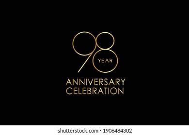 Luxury Black Gold 98 years anniversary, minimalist logo years, jubilee, Ribbon greeting card. Birthday invitation. Gold space vector illustration on black background - Vector