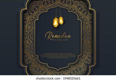 Luxury black gold background banner with islamic arabesque mandala ornament on dark surface