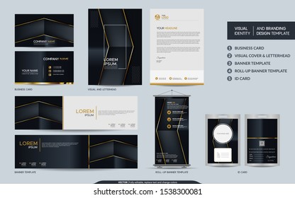 Luxury black gold stationery mock up set and visual brand identity with abstract overlap layers background . Vector illustration mock up for branding, cover, card, product, event, banner, website.