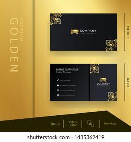Luxury black golden business card with premium ornament and elegant template .motive . Batik