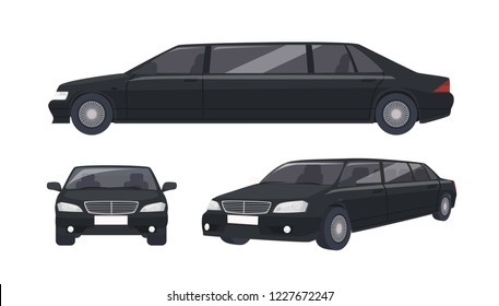 Luxury black limousine isolated on white background. Elegant premium luxurious motor vehicle, car or automobile. Set of front and side views. Colorful vector illustration in flat cartoon style.