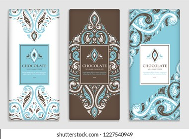 Luxury blue packaging design of chocolate bars. Vintage vector ornament template. Elegant, classic elements. Great for food, drink and other package types. Can be used for background and wallpaper.