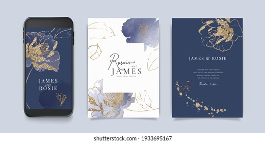 Luxury blue Social Media, mobile  Wedding invite frame templates. Vector background. Invitation mobile Floral with golden collage layout design.