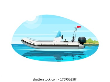 Luxury boat with engine semi flat vector illustration. Premium ship with motor engine. Fast boat for maritime trip. Nautical cruise and relaxation. Speedboat 2D cartoon object for commercial use