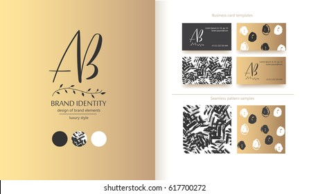 Luxury brand identity. Calligraphy AB letters - sophisticated logo design. Couple business card designs and seamless patterns included.