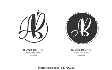 Luxury brand identity. Calligraphy AB letters - sophisticated logo design